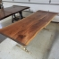 Walnut Dining Table Bronze Base