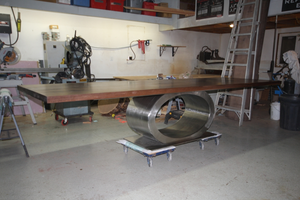 Walnut Dining Table w Stainless Ellipse Base