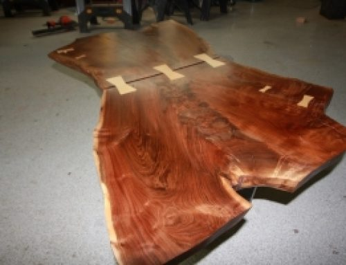 Crotch Walnut Live Edge Coffee Table w Curly Maple Joinery