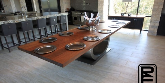 Walnut Dining Table Stainless Ellipse Base