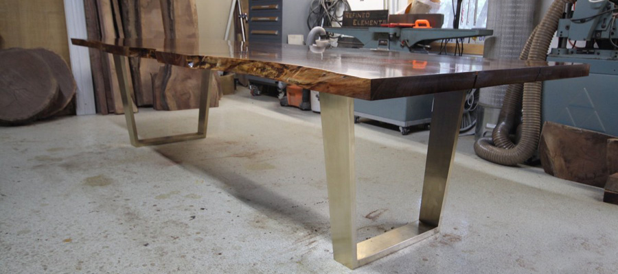 Bronze Walnut Bookmatch Dining Table
