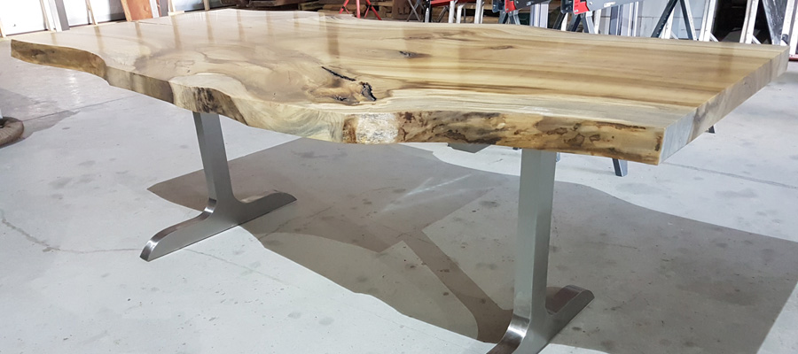 Poplar Slab Natural Edge Table