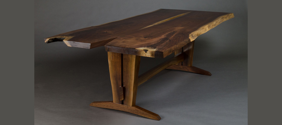 Walnut Trestle Live Edge Dining Table