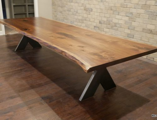 "Walnut Conference Table w/ Blackened Stainless ""Y"" Base"