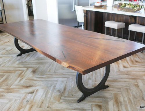 Texas Walnut Dining Table w/ Antique Bronze Omega Base