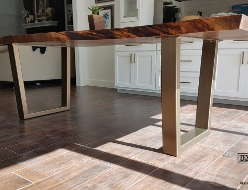 Gold Bronze Metallic Base Walnut Table